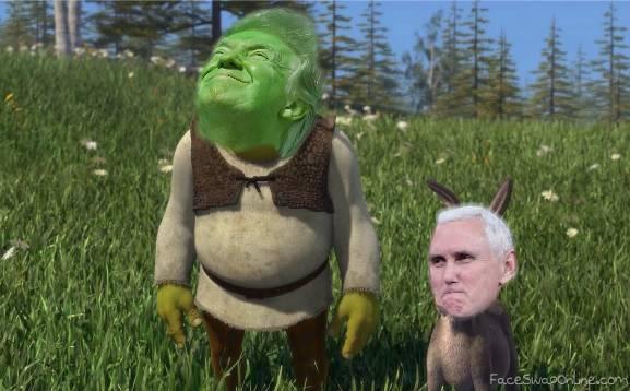 shrek trump and donkey pence