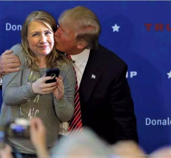 Trump kisses Hillary