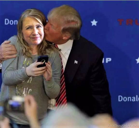 Trump kisses Hillary