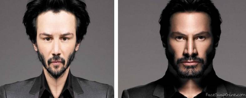2 half faces of Keanu