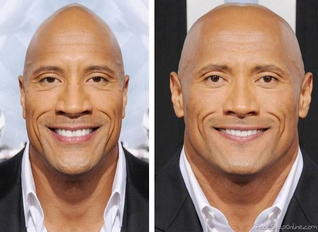 2 half faces of The Rock