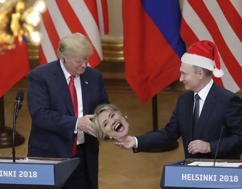 Putin gives Trump Hillary's head