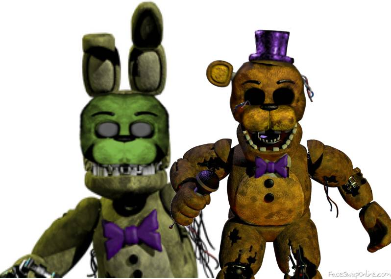 withered fred bear and spring bonnie fnaf 2