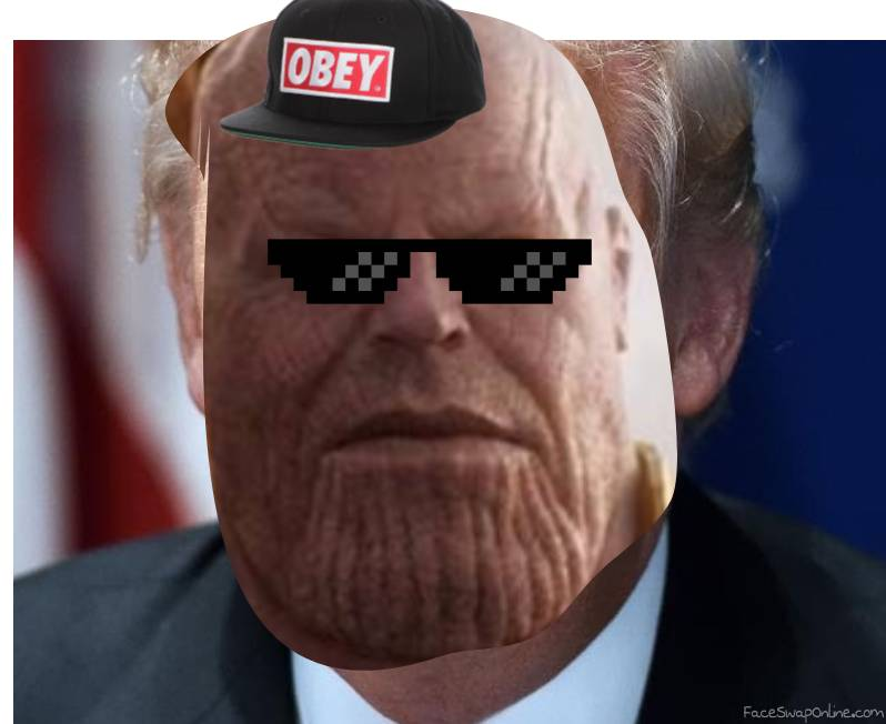 Thanos turning into donald rump in a snap