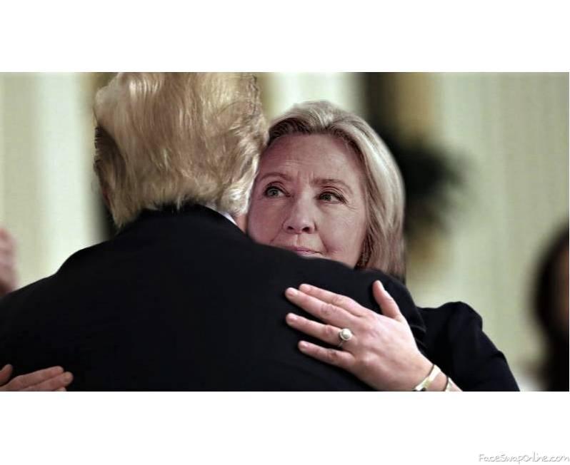 Hillary hugs Trump