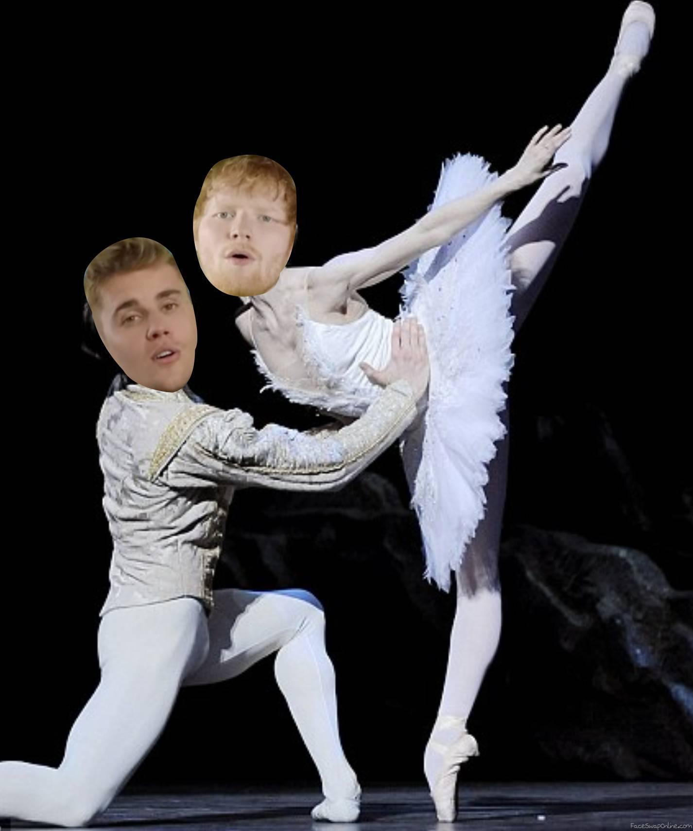 Ed Sheeran & Justin Bieber ballerina gay meme