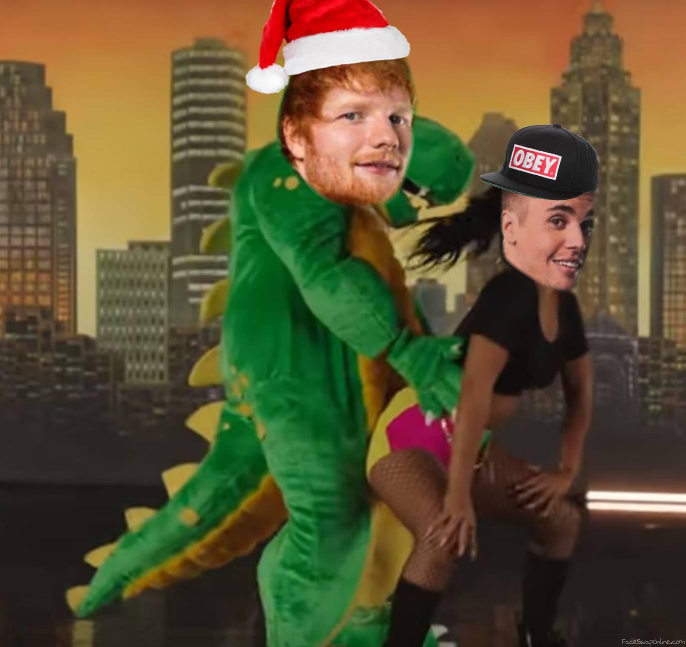 Justin Bieber twerks to Ed Sheeran in dragon costume
