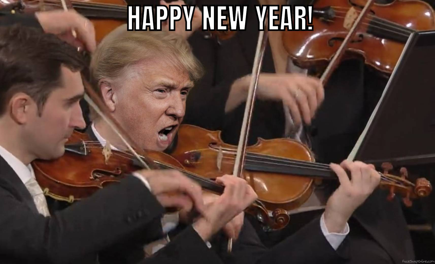 Trump playing the violin in an orchestra