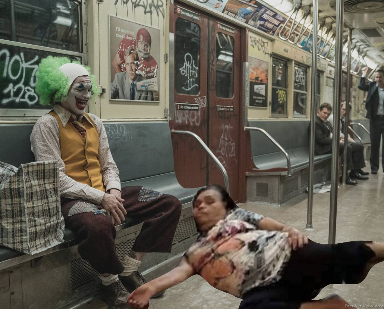 Joker laughs at woman sleeping in public transport