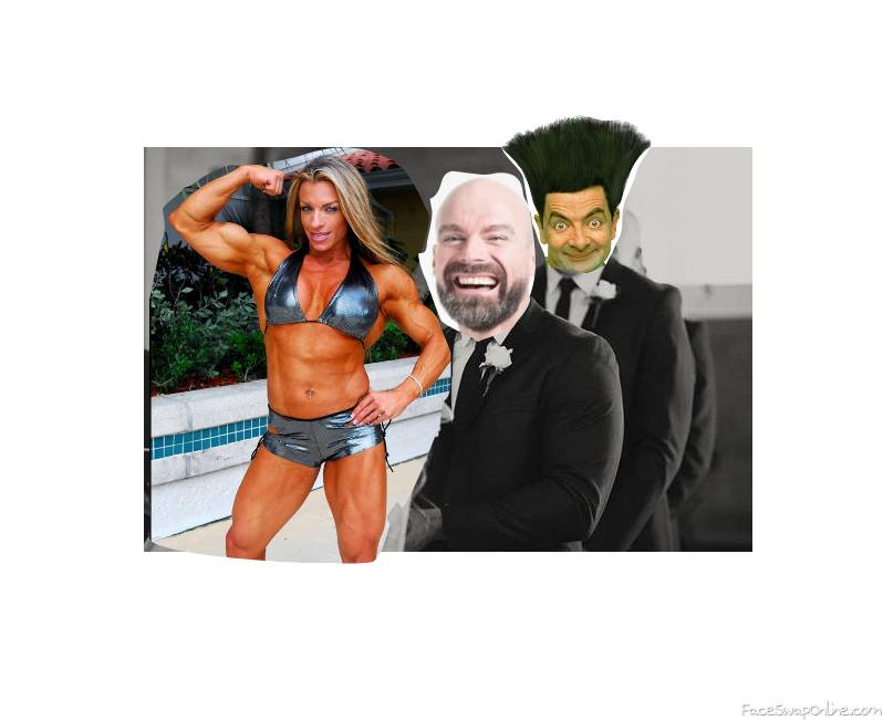 A bodybuilder marriage to a man with Mr Bean as best man