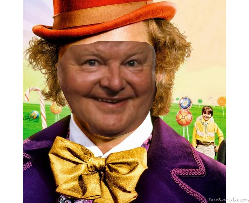 Benny Hill in Willy Wonka and the chocolate factory