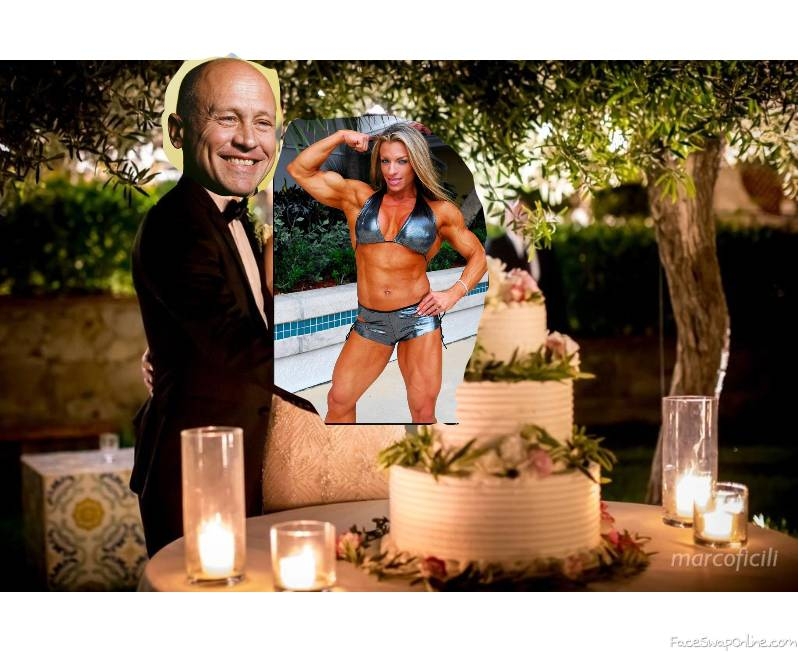 Mike Judge and female bodybuilder have their wedding reception