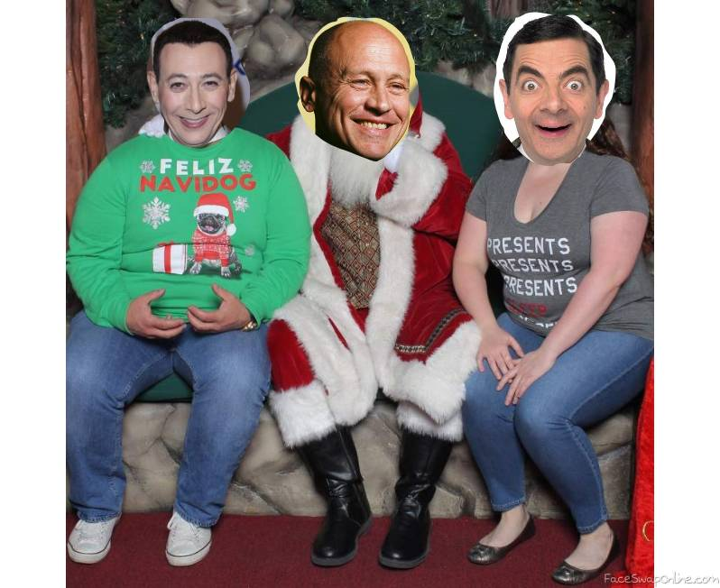 Pee Wee Herman, Mike Judge, and Mr Bean's family Christmas Card