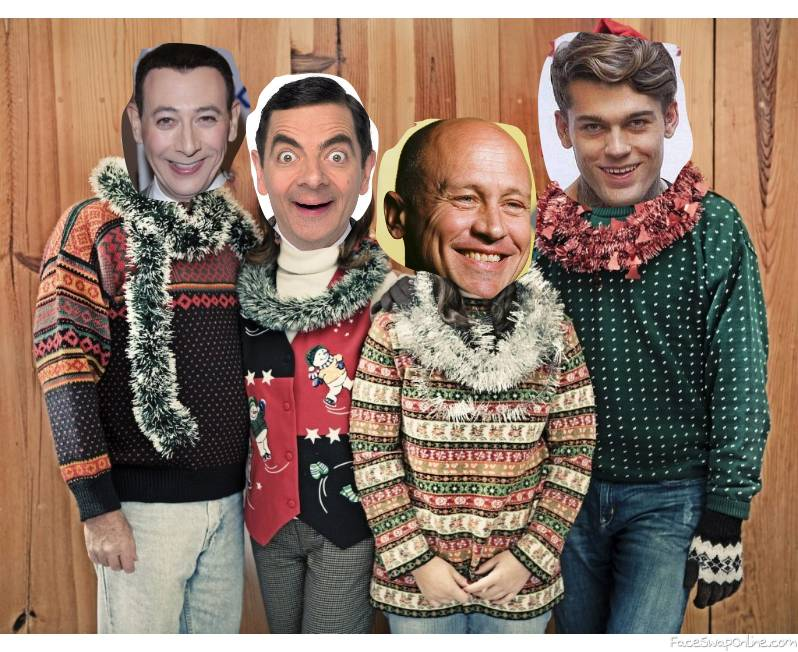 Pee Wee Herman, Mr Bean, Mike Judge, and Stephen James's family Christmas card