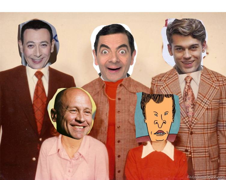 Pee Wee Herman, Mr Bean, Stephen James, Mike Judge, and Butthead Family Picture