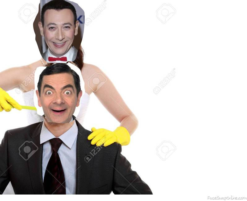 Pee Wee Herman, Mr Bean are trimming their necks for each other