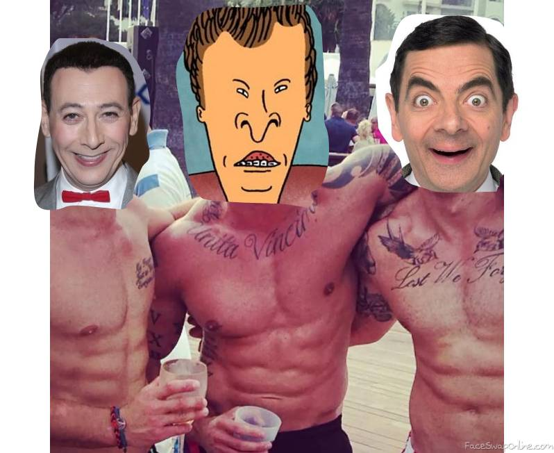 Shirtless Pee Wee Herman, Butthead, and Mr Bean on a beach