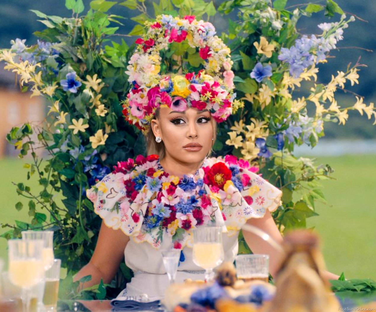 Ariana Grande in Midsommar dress