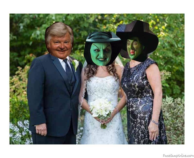 Benny Hill and the Wicked Witch on their daughter's wedding day
