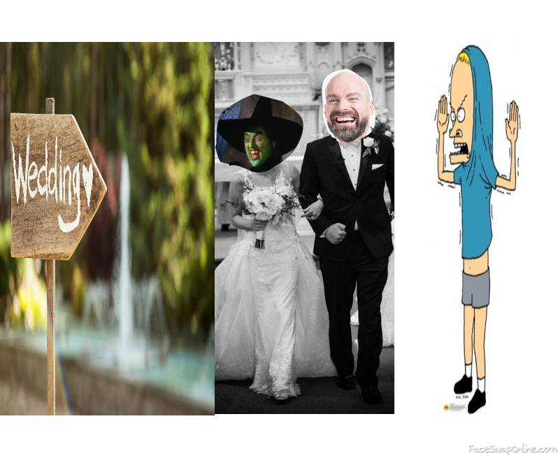 Wicked Witch of the West wedding to a guy with Cornholio as a guest