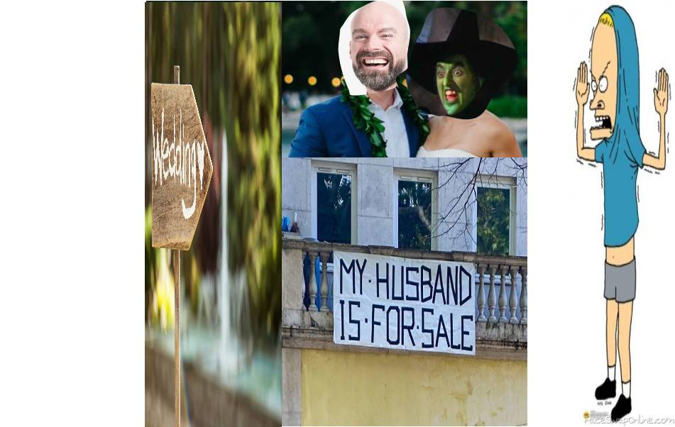 Wicked witch of the West Wedding with Cornholio as a guest