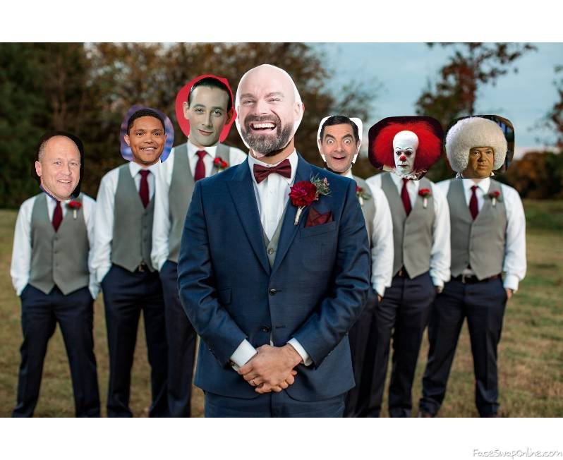 Mike Judge, Trevor Noah, Pee Wee Herman, Mr Bean, Pennywise, and Gary Spivey are groomsmen for their friends wedding