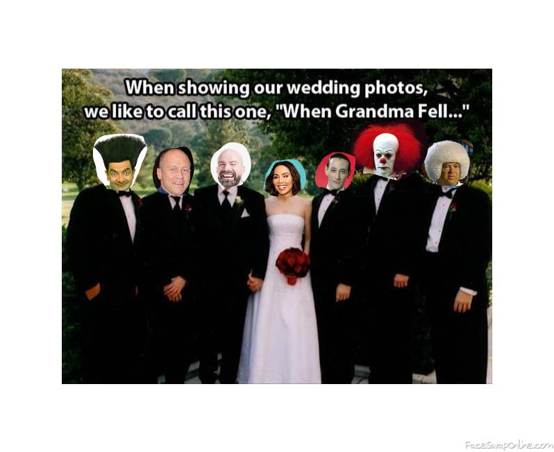 Whitney Cummings wedding, with Mr Bean, Mike Judge, Pee Wee Herman, Pennywise, and Gary Spivey as groomsmen