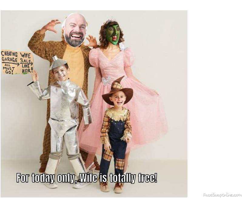 Bald Guy and Wicked Witch of the West 2018 Halloween family picture/Flash Wife sale!