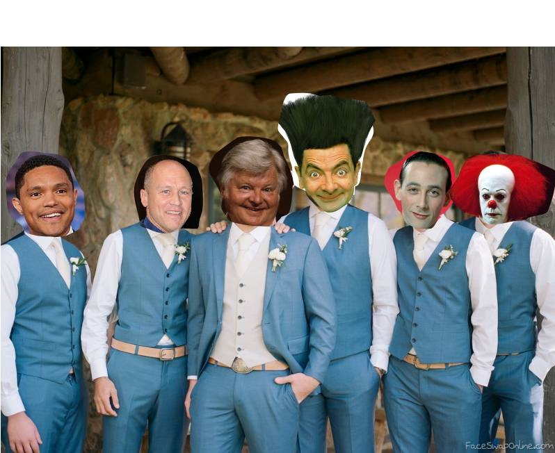 Groom Benny Hill and his groomsmen