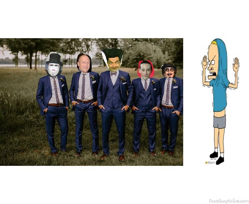 Groom Mr Bean and his groomsman