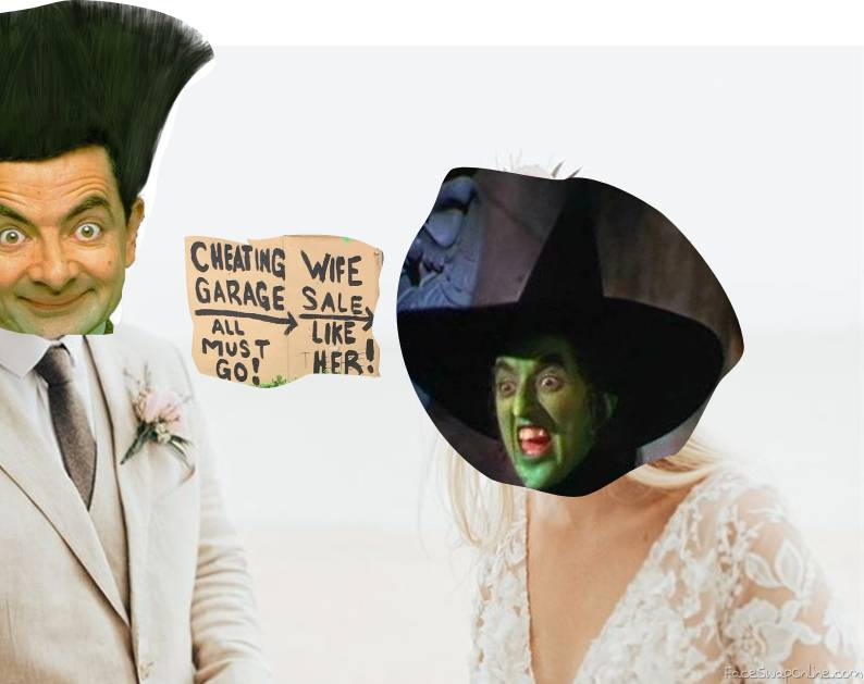 Mr. Bean's and Wicked Witch of the West's Wedding, with a telling sign....