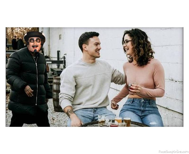 Svengoolie photo bombing an wedding proposal