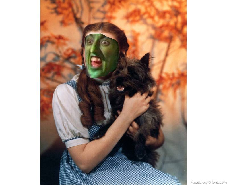 The Wicked Witch of The West as Dorothy Gale with Toto