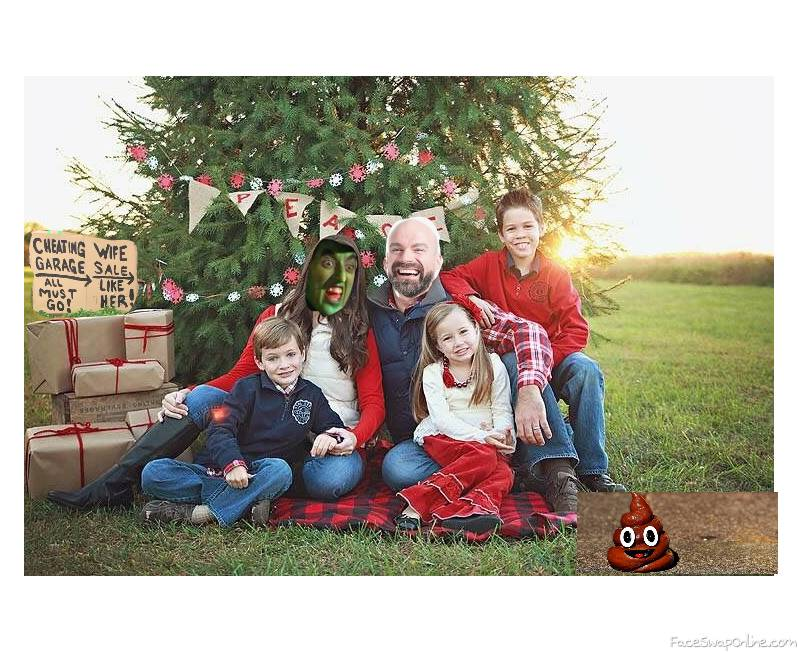 Wicked Witch of the West And Bald Guy's 2020 family Christmas Picture