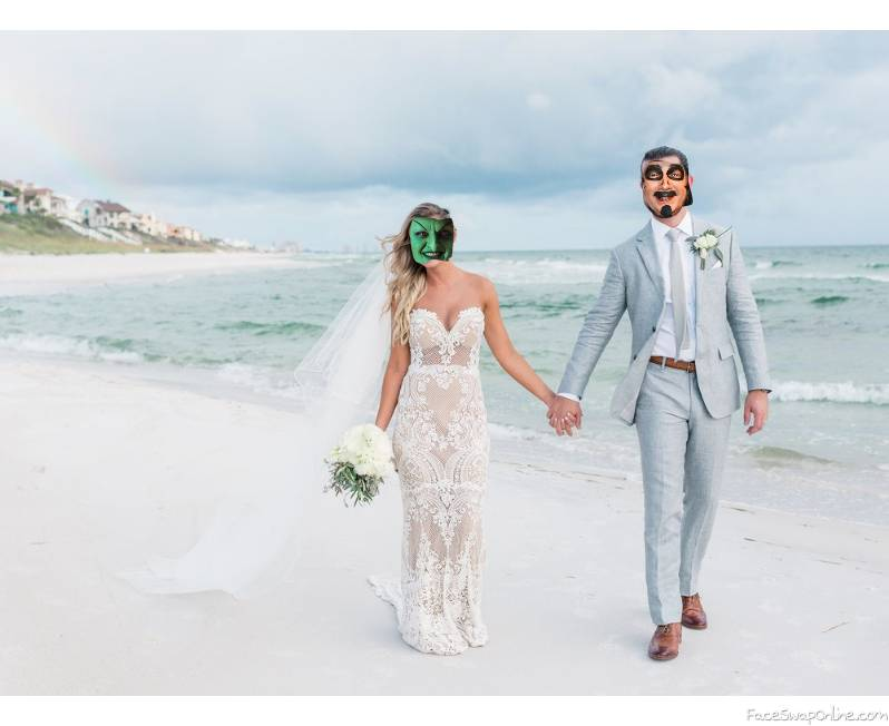 Wicked Witch of the West beach wedding with Svengoolie