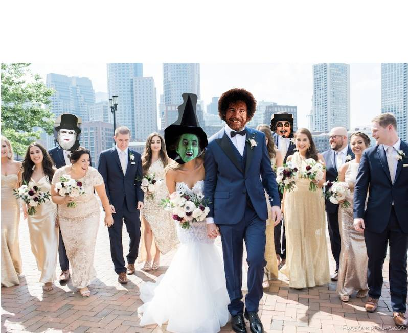 Wicked Witch of the West wedding to Bob Ross with Dr Creep and Svengoolie as guests