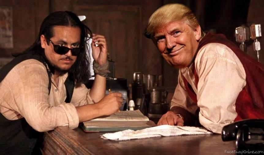 Happy Trump in a bar