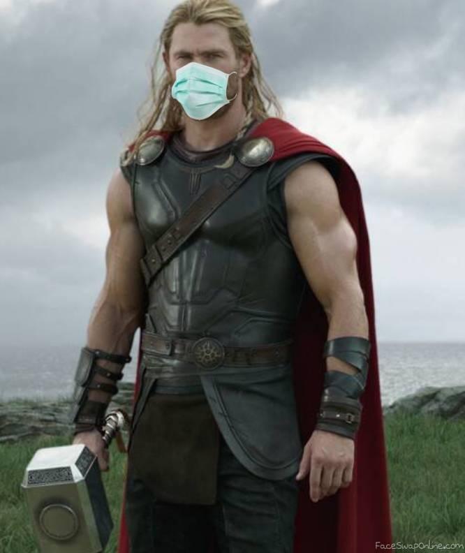 Thor wearing mask