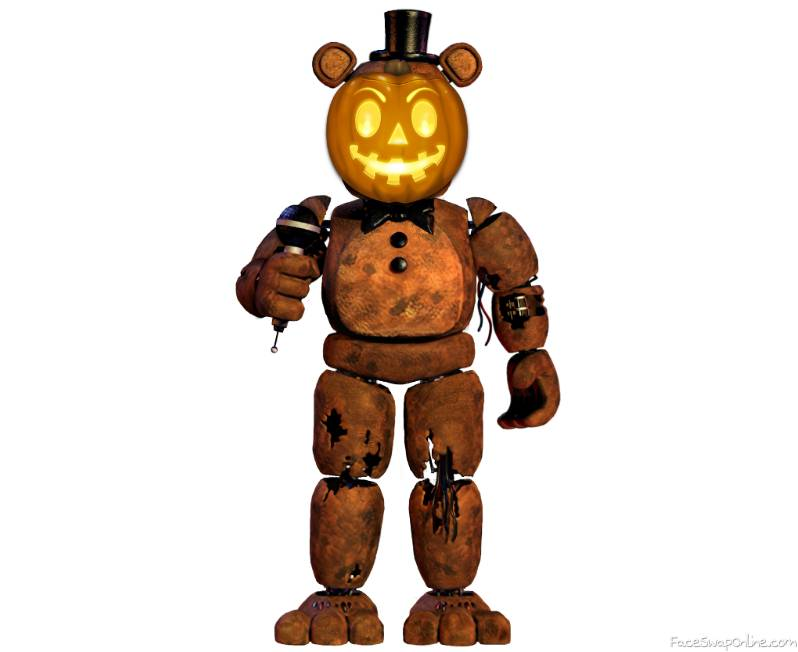 Hey pumpkin's back! I will withered freddy put pumpkin's face!