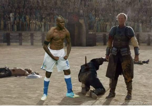 Balotelli in the arena with Jorah Mormont