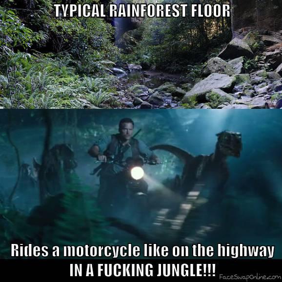 Jurassic World motorbike chase anomaly