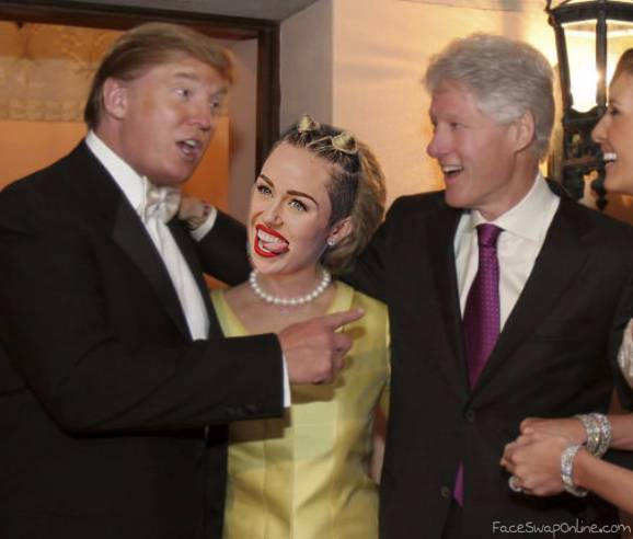 Trump and Clinton hanging out with Cyrus